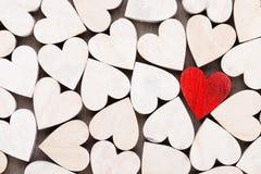 Fundo com corações de madeira, lugar para o texto Imagens de Stock Royalty Free