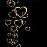 Fundo com corações do ouro e da prata ilustração royalty free