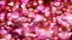 Fundo com corações e beijos agradáveis do voo ilustração do vetor