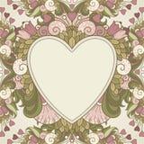 Fundo com corações e quadro decorativo abstrato com elementos decorativos Imagens de Stock Royalty Free