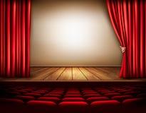 Fundo com a cortina e mão vermelhas de veludo Fotos de Stock Royalty Free