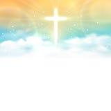 Fundo com cruz de brilho e céu com nuvens brancas