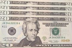 Fundo com dinheiro E.U. 20 contas de dólar Fotografia de Stock Royalty Free
