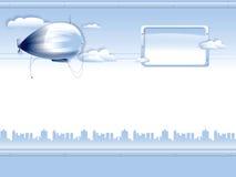 Fundo com dirigível Ilustração do Vetor