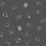 Fundo com dispositivos eletrónicos Imagens de Stock Royalty Free