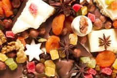 Fundo com doces, chocolate, porcas Fotos de Stock