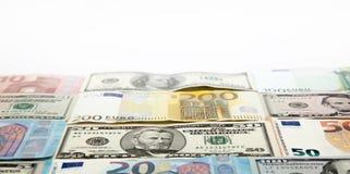 Fundo com Euro e dólares com espaço da cópia Fotografia de Stock