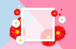 Fundo com a flor colorida bonita Insetos do papel de parede, convite, cartazes, folheto, disconto do comprovante Foto de Stock