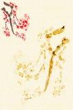 Fundo com flor da ameixa ilustração royalty free