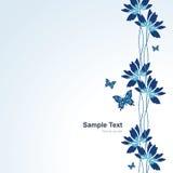 Fundo com flores e as borboletas azuis Foto de Stock