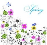 Fundo com flores e borboletas ilustração royalty free