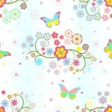 Fundo com flores e borboletas Fotografia de Stock