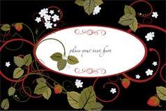 Fundo com flores e morangos ilustração do vetor