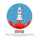 Fundo com foguete, conceito novo startup do vetor da viagem espacial do projeto do negócio Fotos de Stock Royalty Free