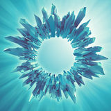 Fundo com forma 3d de cristal redonda azul ilustração royalty free