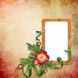 Fundo com frame de retrato vazio com flores Fotografia de Stock