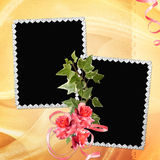 Fundo com frame e flores Imagens de Stock