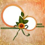 Fundo com frame e flores Foto de Stock Royalty Free