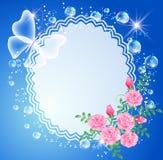 Fundo com frame, rosas e borboleta Fotografia de Stock Royalty Free