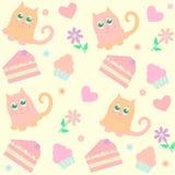 Fundo com gatos e bolos Imagens de Stock