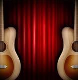 Fundo com guitarra acústica Fotos de Stock Royalty Free