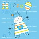 Fundo com hipopótamo bonito Imagem de Stock Royalty Free