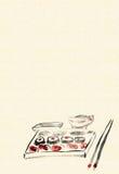 Fundo com jantar com sush ilustração stock