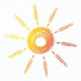 Fundo com lápis e círculo. Sol dos desenhos animados. Fotos de Stock