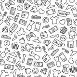 Fundo com linha ícones da compra imagem de stock