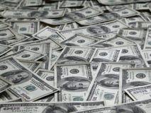 Fundo com lotes de notas de dólar do americano cem Fotografia de Stock Royalty Free
