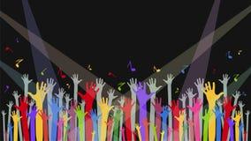 Fundo com mãos do ` um s do fã, notas e luzes para concertos, pe Fotografia de Stock Royalty Free