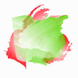 Fundo com manchas da aquarela Ilustração em cores vermelhas, verdes e brancas Fotografia de Stock Royalty Free