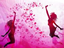 Fundo com meninas de salto Fotos de Stock Royalty Free
