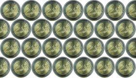 Fundo com muita moeda europeia 2 moedas do Euro Isolado em um fundo branco Imagens de Stock Royalty Free