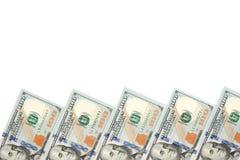 Fundo com notas de dólar do americano cem do dinheiro com espaço da cópia para dentro Quadro de denominações das cédulas de 100 d Foto de Stock