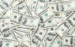 Fundo com notas de dólar do americano cem do dinheiro Fotografia de Stock