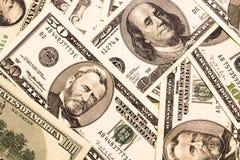 Fundo com notas de dólar do americano do dinheiro Fotografia de Stock