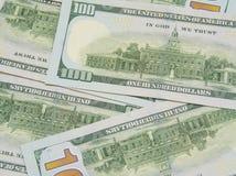 Fundo com notas de d?lar do americano cem do dinheiro Fotografia de Stock Royalty Free