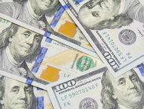 Fundo com notas de d?lar do americano cem do dinheiro Fotos de Stock