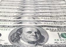 Fundo com notas de d?lar do americano cem do dinheiro Foto de Stock Royalty Free