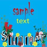 Fundo com o azul brilhante com folhas, rotulação bonita do verão das cores ilustração do vetor