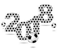 Fundo com o sinal 2018 e a bola de futebol Foto de Stock