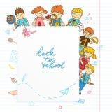 Fundo com olhar fora das crianças da bandeira Fotografia de Stock Royalty Free