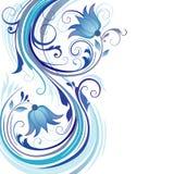 Fundo com ornamento azuis Ilustração do Vetor