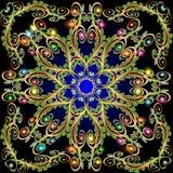 Fundo com ornamento e as folhas brilhantes de pedras preciosas Imagens de Stock Royalty Free