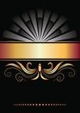 Fundo com ornamento e a fita dourada Foto de Stock Royalty Free