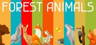 Fundo com os animais e os pássaros da floresta da floresta Ilustração estilizado Fotografia de Stock Royalty Free