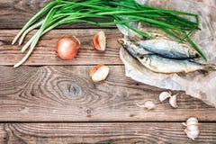 Fundo com os peixes salgados no papel, na cebola e no alho no grunge Imagens de Stock Royalty Free