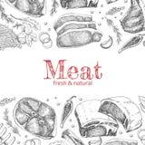 Fundo com os produtos de carne diferentes Imagens de Stock