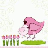 Fundo com pássaros dos desenhos animados. Imagem de Stock Royalty Free
